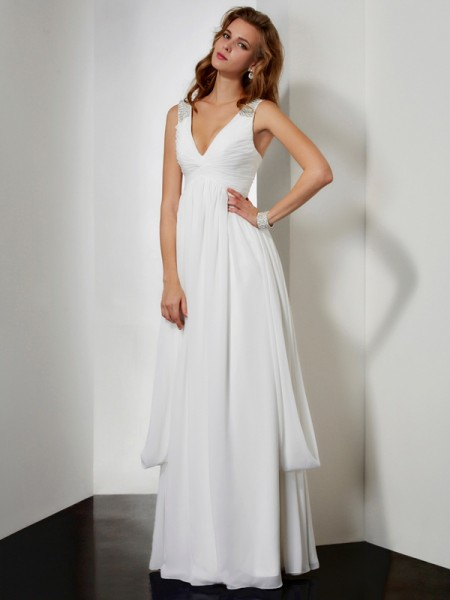 A-Line/Princess Chiffon V-neck Rhinestone Floor-Length Sleeveless Dresses