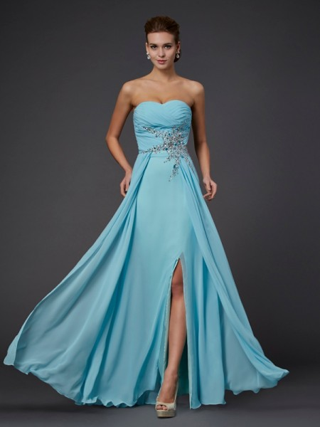 Sheath/Column Sweetheart Beading Chiffon Floor-Length Sleeveless Dresses