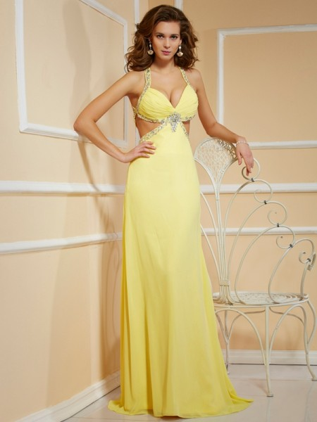 Sheath/Column Chiffon Beading Spaghetti Straps Sleeveless Floor-Length Dresses