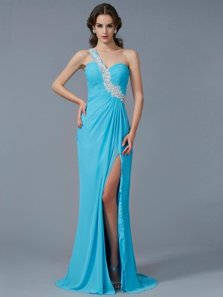 Sheath/Column Chiffon One-Shoulder Sleeveless Beading Sweep/Brush Train Dresses