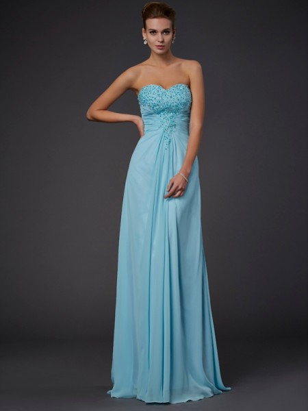 Sheath/Column Sweetheart Chiffon Sleeveless Beading Floor-Length Dresses