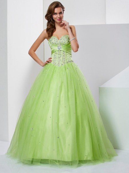 Ball Gown Sweetheart Tulle Beading Floor-Length Sleeveless Dresses