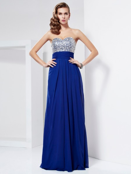 Sheath/Column Sweetheart Chiffon Rhinestone Sleeveless Floor-Length Dresses