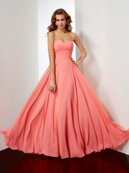 A-Line/Princess Sweetheart Pleats Sleeveless Chiffon Floor-Length Dresses