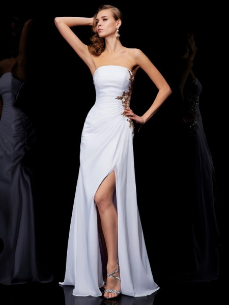 Sheath/Column Strapless Chiffon Sleeveless Ruffles Floor-Length Dresses