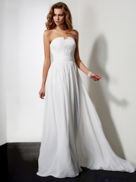 A-Line/Princess Chiffon Strapless Floor-Length Ruffles Sleeveless Dresses