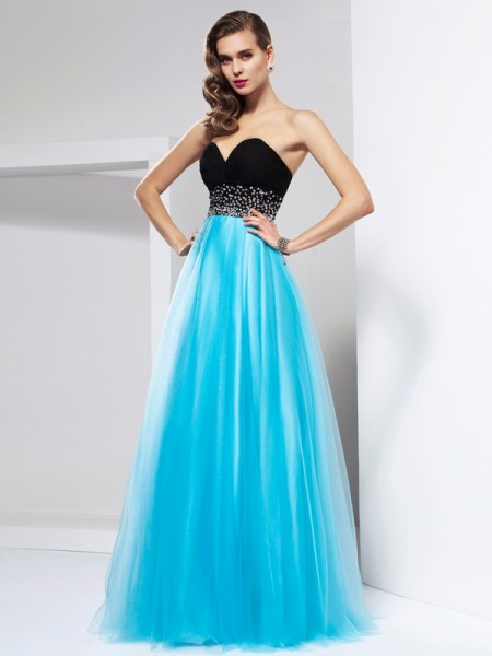 A-Line/Princess Net Sweetheart Sleeveless Floor-Length Sash/Ribbon/Belt Dresses