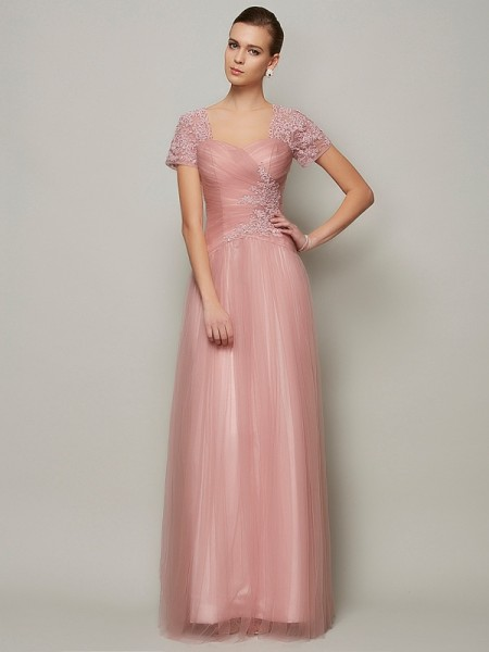 A-Line/Princess Satin Sweetheart Short Sleeves Floor-Length Beading Dresses