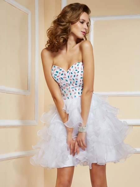 A-Line/Princess Organza Sweetheart Sleeveless Rhinestone Short/Mini Dresses
