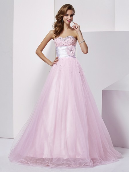 Ball Gown Elastic Woven Satin Strapless Beading Floor-Length Sleeveless Dresses