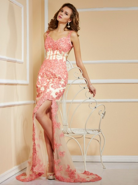 Sheath/Column Net Applique Straps Sleeveless Sweep/Brush Train Dresses
