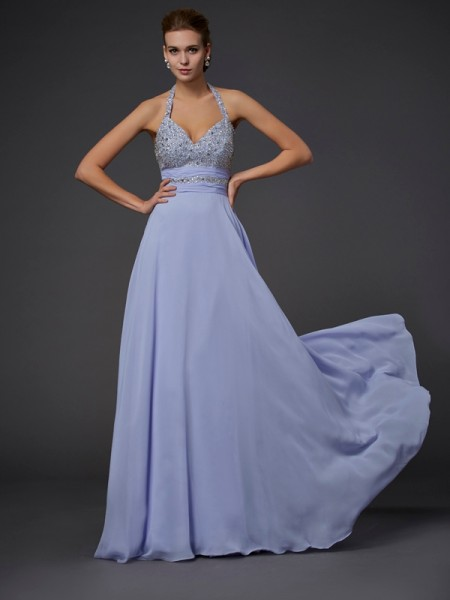 A-Line/Princess Chiffon Halter Sleeveless Beading Floor-Length Dresses