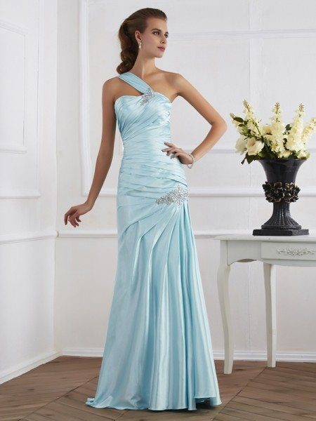 Trumpet/Mermaid Elastic Woven Satin One-Shoulder Ruched Floor-Length Sleeveless Dresses
