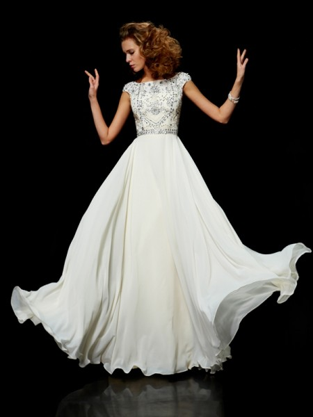 Ball Gown Chiffon High Neck Short Sleeves Floor-Length Beading Dresses