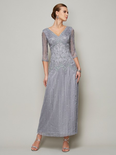Sheath/Column Elastic Woven Satin Beading V-neck 1/2 Sleeves Ankle-Length Mother of the Bride Dresses