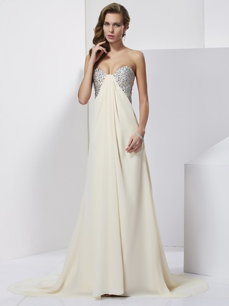 Sheath/Column Beading Sweetheart Sleeveless Chiffon Sweep/Brush Train Dresses