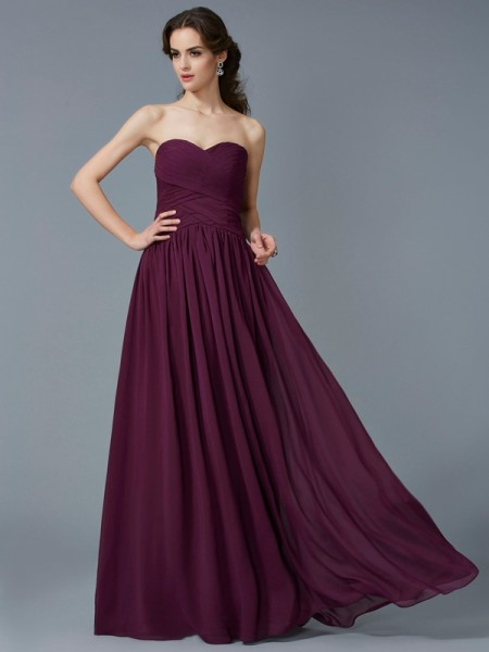 A-Line/Princess Sweetheart Chiffon Sleeveless Floor-Length Pleats Dresses