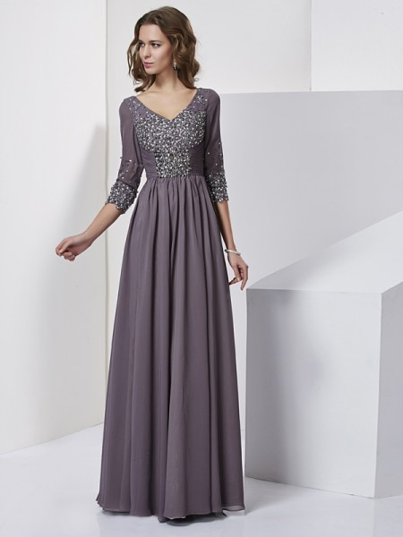 Sheath/Column Chiffon Beading V-neck 3/4 Sleeves Floor-Length Dresses