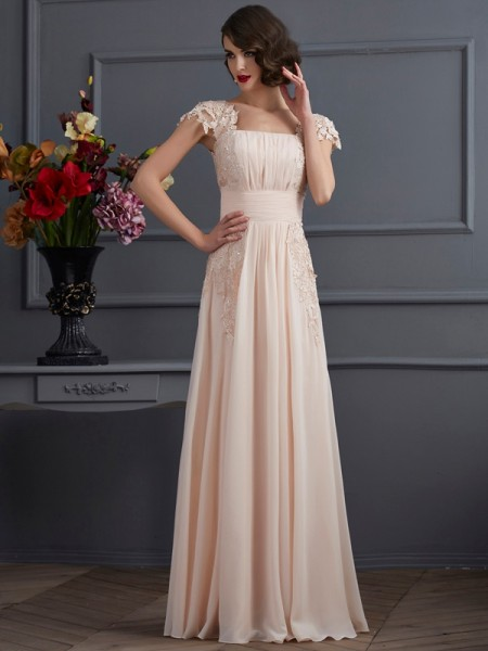 A-Line/Princess Chiffon Square Short Sleeves Lace Floor-Length Dresses