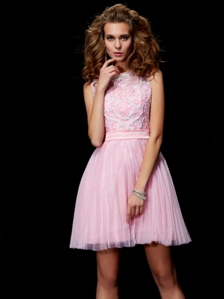 A-Line/Princess Scoop Elastic Woven Satin Beading Short/Mini Sleeveless Dresses