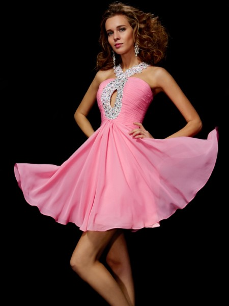 A-Line/Princess Chiffon V-neck Sleeveless Beading Short/Mini Dresses