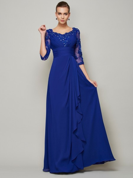 A-Line/Princess Chiffon Scoop 3/4 Sleeves Lace Floor-Length Mother of the Bride Dresses