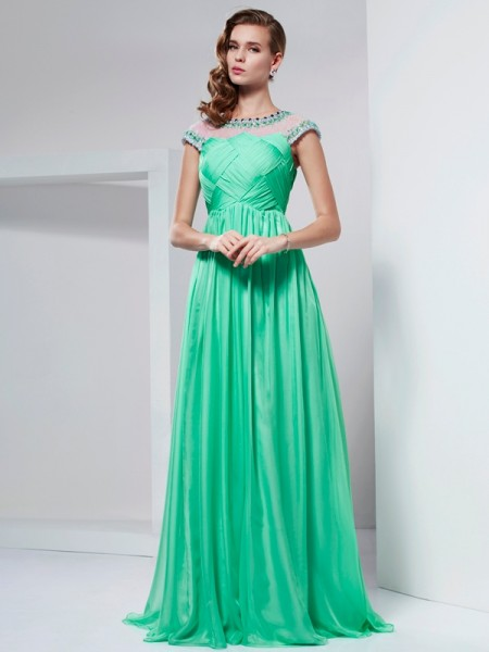 A-Line/Princess High Neck Short Sleeves Floor-Length Beading Chiffon Dresses