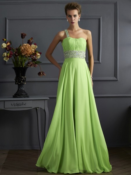 A-Line/Princess Chiffon Beading One-Shoulder Sleeveless Floor-Length Dresses