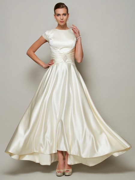 A-Line/Princess Satin Scoop Short Sleeves Floor-Length Beading Mother of the Bride Dresses
