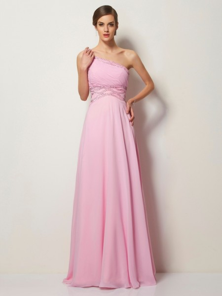 A-Line/Princess One-Shoulder Sleeveless Chiffon Sweep/Brush Train Dresses