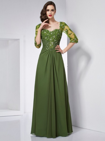 A-Line/Princess Sweetheart 3/4 Sleeves Floor-Length Beading Chiffon Dresses