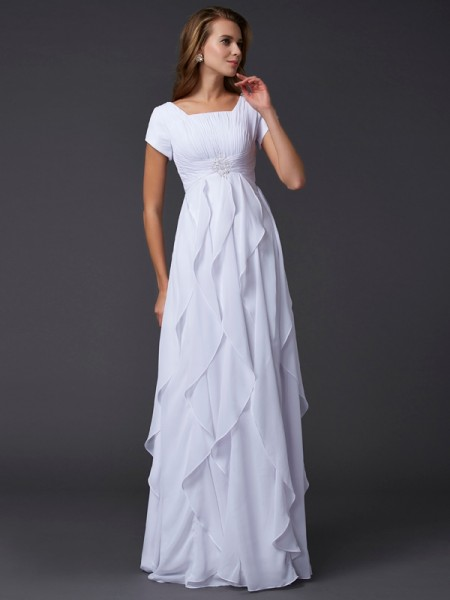 Sheath/Column Chiffon Square Short Sleeves Ruffles Floor-Length Dresses