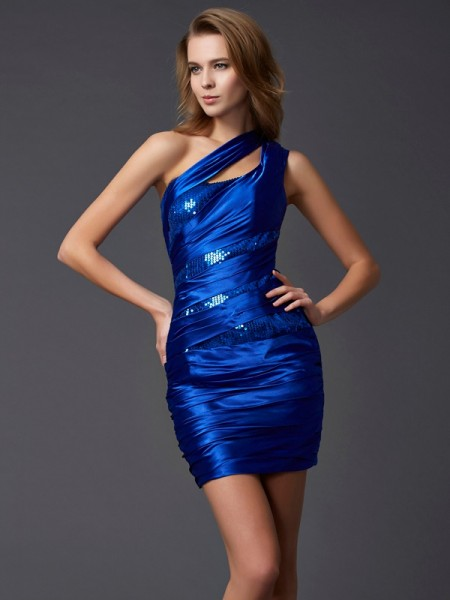 Sheath/Column Silk like Satin One-Shoulder Sleeveless Paillette Short/Mini Dresses