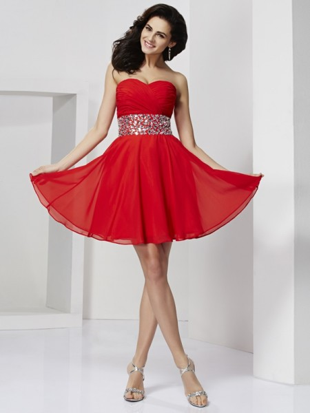 A-Line/Princess Sweetheart Rhinestone Sleeveless Short/Mini Chiffon Dresses