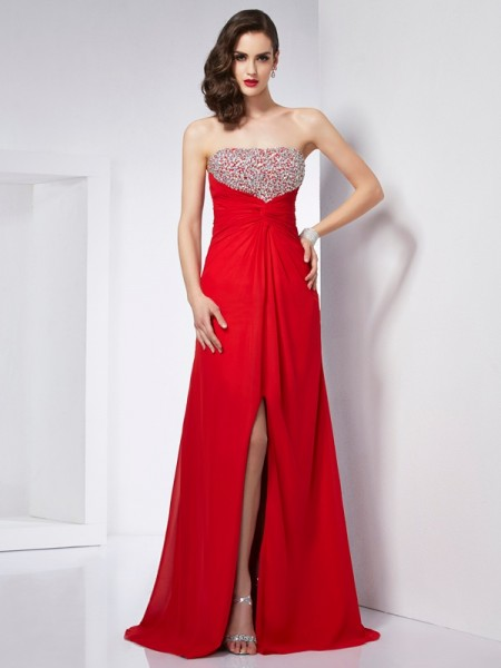 A-Line/Princess Chiffon Strapless Sleeveless Beading Floor-Length Dresses