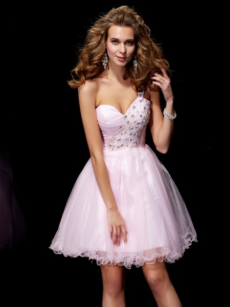 A-Line/Princess Elastic Woven Satin One-Shoulder Sleeveless Beading Short/Mini Dresses