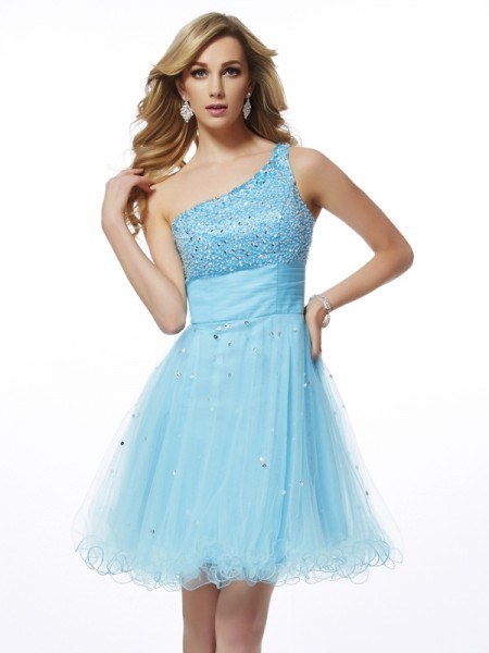 A-Line/Princess Organza One-Shoulder Sleeveless Beading Short/Mini Dresses