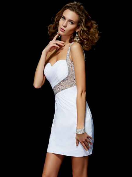 A-Line/Princess One-Shoulder Sleeveless Sequin Chiffon Short/Mini Dresses