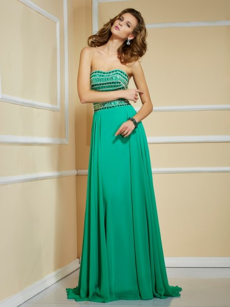 A-Line/Princess Chiffon Strapless Sleeveless Sweep/Brush Train Rhinestone Dresses