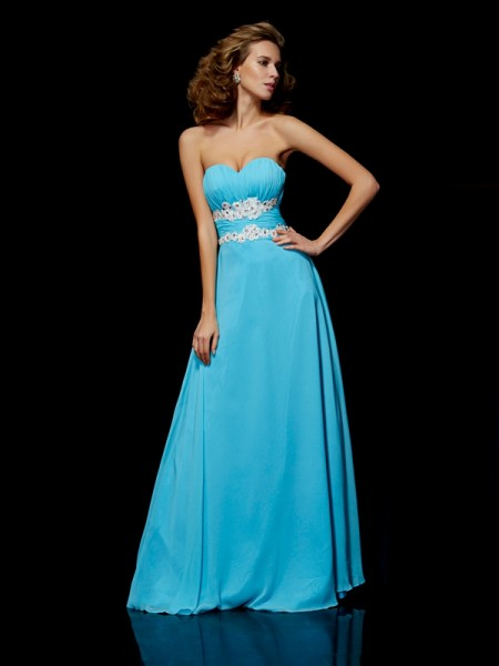 A-Line/Princess Sweetheart Chiffon Applique Floor-Length Sleeveless Dresses