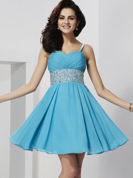 A-Line/Princess Spaghetti Straps Chiffon Sleeveless Short/Mini Rhinestone Dresses