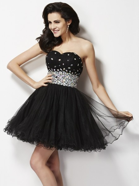A-Line/Princess Sweetheart Elastic Woven Satin Beading Sleeveless Short/Mini Dresses