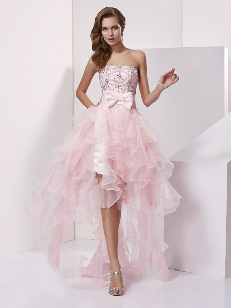 A-Line/Princess Strapless Organza Beading Asymmetrical Sleeveless Dresses