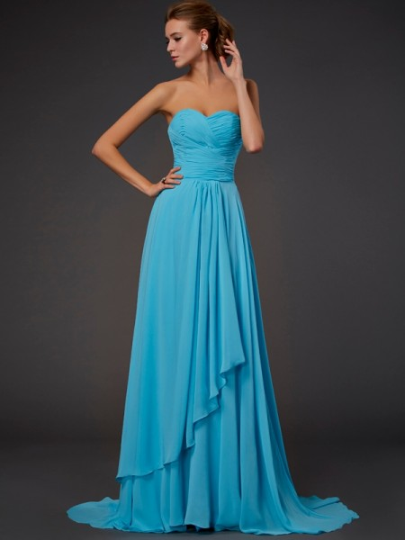 A-Line/Princess Chiffon Pleats Sweetheart Floor-Length Sleeveless Dresses