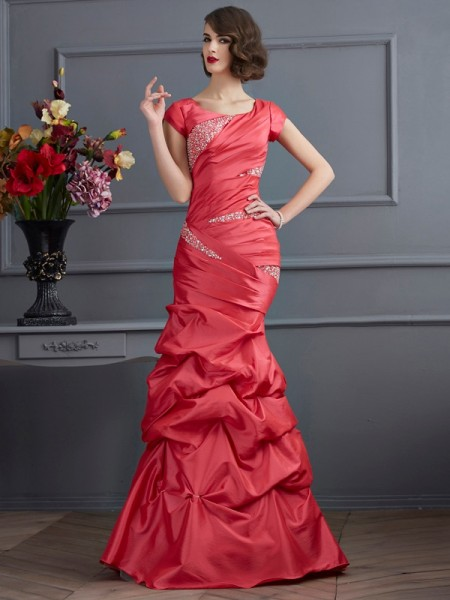 Trumpet/Mermaid Taffeta Scoop Short Sleeves Floor-Length Beading Dresses