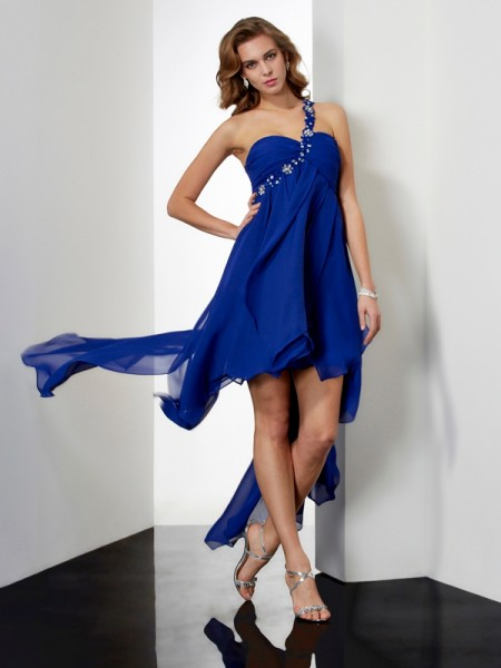 A-Line/Princess Chiffon Beading One-Shoulder Sleeveless Asymmetrical Dresses