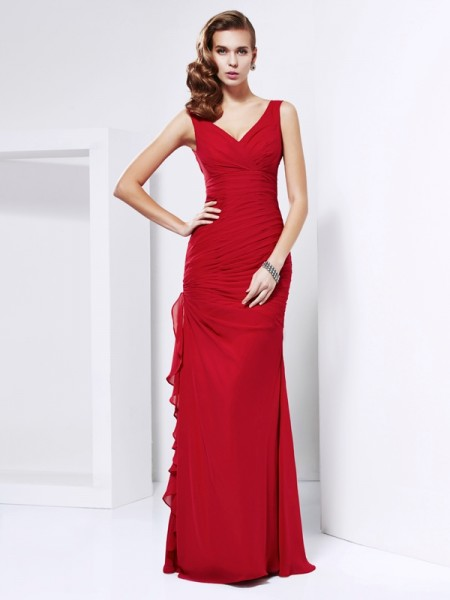 Sheath/Column V-neck Sleeveless Ruched Chiffon Floor-Length Dresses