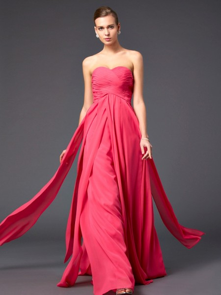 Sheath/Column Chiffon Sweetheart Sleeveless Sweep/Brush Train Ruffles Dresses