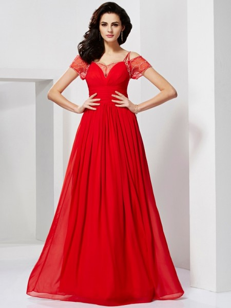 A-Line/Princess Spaghetti Straps Short Sleeves Floor-Length Beading Chiffon Dresses