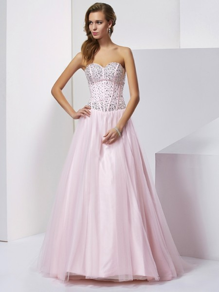 Ball Gown Satin Beading Sweetheart Sleeveless Floor-Length Dresses